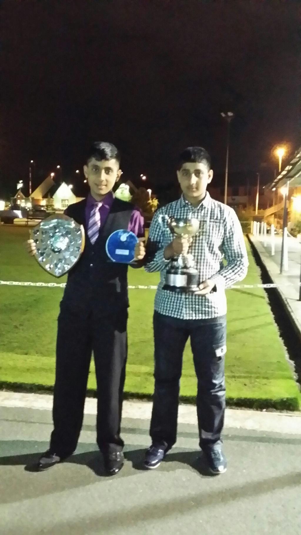 Asif Latif Winner Of U15 Bowling Award. Atif Latif With U17 League Cup.