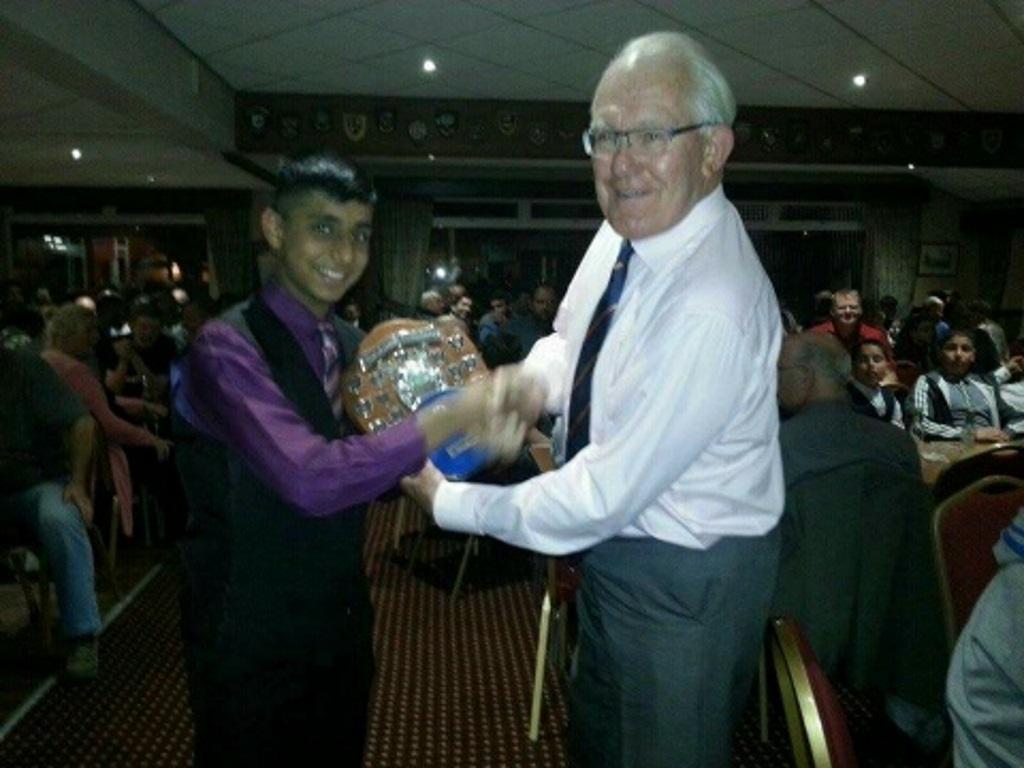 Asif Latif Receiving His U15 Bowling Award From Ralph Middlebrook